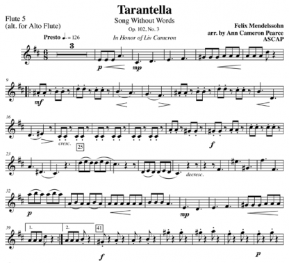 Tarantella from Song Without Words for flute choir | ScoreVivo