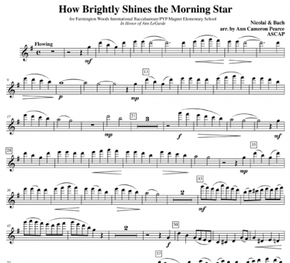 How Brightly Shines the Morning Star for flute and handbells   ScoreVivo