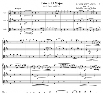 Trio in D Major for two flutes and viola | ScoreVivo