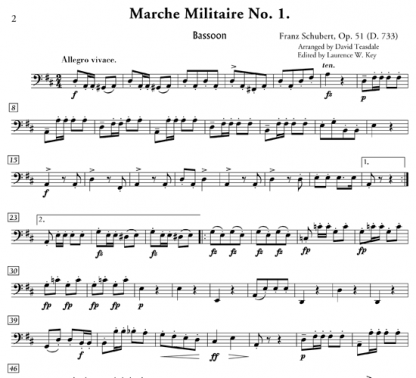 Marche Militaire No. 1 for flute, oboe, clarinet, horn, and bassoon | ScoreVivo