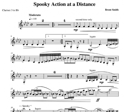 Spooky Action at a Distance for clarinet ensemble | ScoreVivo