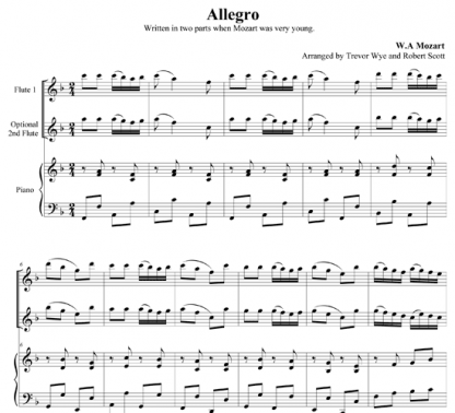 Allegro for Two Flutes and Piano | ScoreVivo
