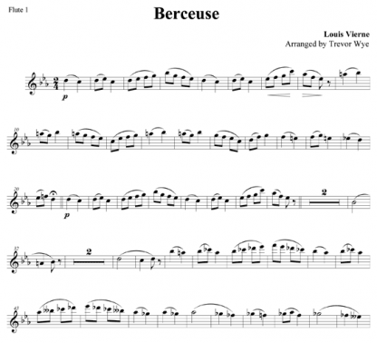 Berceuse for flute ensemble | ScoreVivo
