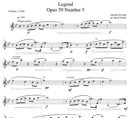 Legend, Op 59, No 5 for clarinet ensemble | ScoreVivo