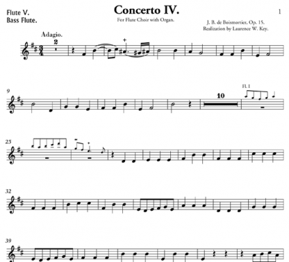 Concerto IV in B minor, Op. 15, for flute ensemble and organ | ScoreVivo
