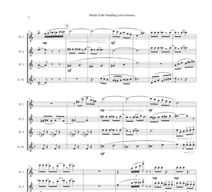 March of the Meddling Lawn Gnomes for flute ensemble | ScoreVivo
