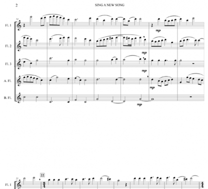 Sing A New Song for flute ensemble | ScoreVivo