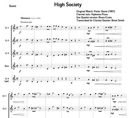 High Society for clarinet ensemble | ScoreVivo
