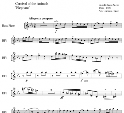 Carnival of the Animals: Hens and Roosters & The Elephant for flute ensemble   ScoreVivo