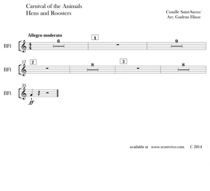 Carnival of the Animals: Hens and Roosters & The Elephant for flute ensemble | ScoreVivo