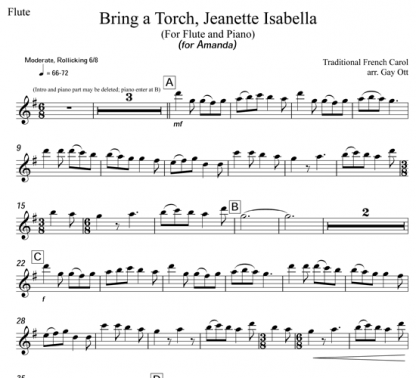 Bring a Torch, Jeanette, Isabella for flute and piano   ScoreVivo