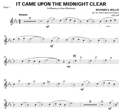 It Came Upon the Midnight Clear for flute sextet | ScoreVivo