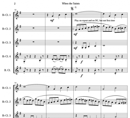 When the Saints Go Marching In for clarinet quartet | ScoreVivo