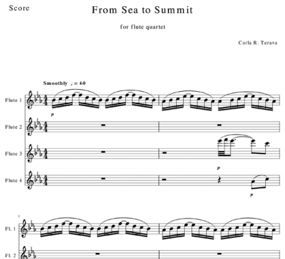 From Sea to Summit for flute quartet   ScoreVivo
