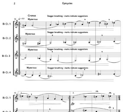 Epicycles of the Planets for clarinet quartet | ScoreVivo