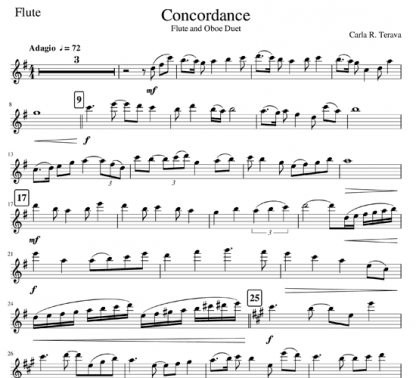 Concordance for flute and oboe duet | ScoreVivo