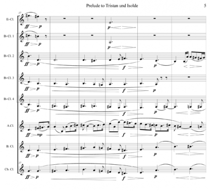 Tristan und Isolde, Prelude for clarinet octet | ScoreVivo