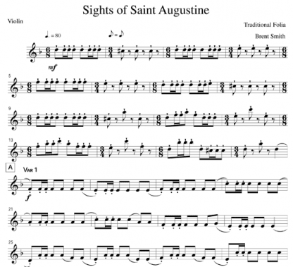 Sights of Saint Augustine for clarinet and string quintet | ScoreVivo