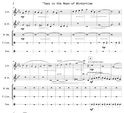 'Twas in the Moon of Wintertime with Hush My Babe for flute and percussion   ScoreVivo