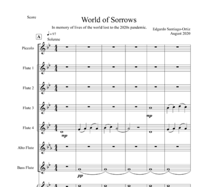 World of Sorrows for flute septet and piano   ScoreVivo