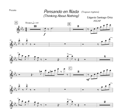 Pensando en Nada (Thinking About Nothing) for flute octet and percussion   ScoreVivo