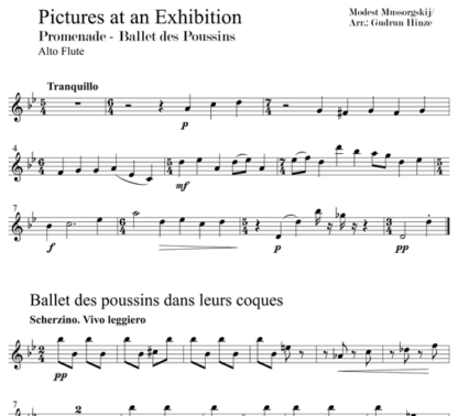 Pictures at an Exhibition - Promenade, Ballet of the Chicks for flute quintet | ScoreVivo