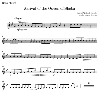 Arrival of the Queen of Sheba for flute quintet | ScoreVivo