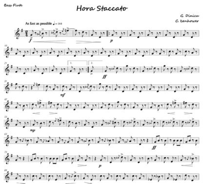 Hora Staccato for flute septet and solo | ScoreVivo