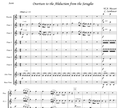 Overture to the Abduction from the Seraglio for flute nonet | ScoreVivo