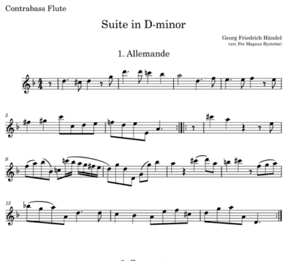 Suite in D minor, HWV 447 for C flute, Bb clarinet, and contrabass flute | ScoreVivo